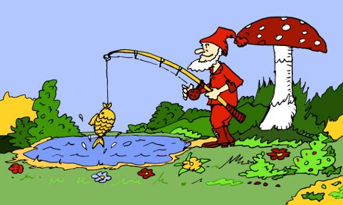 ilustracja książkowa: krasnoludek łowi rybki w stawie