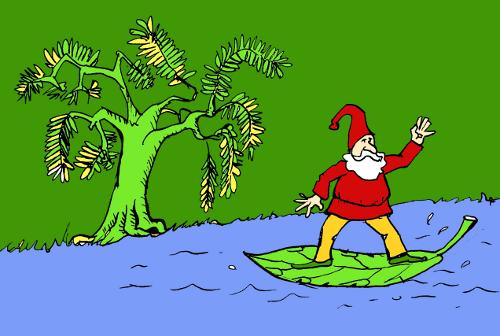 ilustracja książkowa: krasnoludek leży płynie na liściu