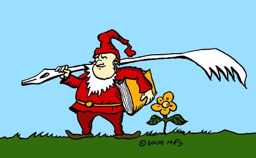 ilustracja książkowa: krasnoludek z piórem