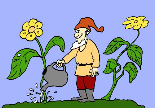 ilustracja książkowa: krasnoludek podlewa kwiatki